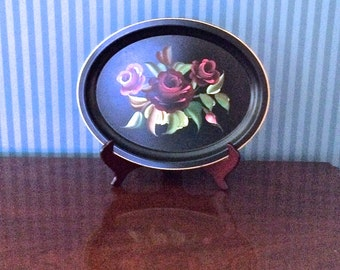Tin Tray -  Hand-Painted in Flowered Tole Design by Pilgrim Art #54