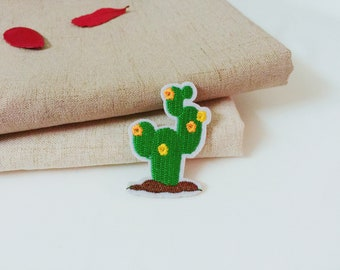 cactus patch -iron on patch -embroidered patch-patch for jacket -diy-green-plant