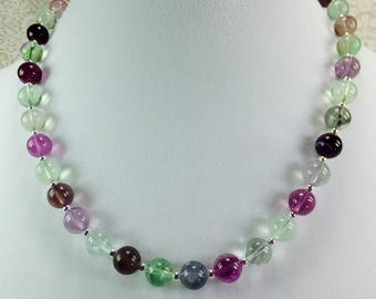 Lovely Purple, Lavender, Green Fluorite Beaded Necklace