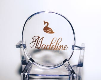 Swan Princess Name Ghost Chair Decal, Chair Sign
