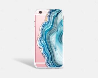 iPhone 8 Case Silicone, iPhone 8 Plus Case Clear, iPhone 7 Case Cute, iPhone 7 Plus Case Clear, Blue iPhone Case, Agate Print iPhone Case