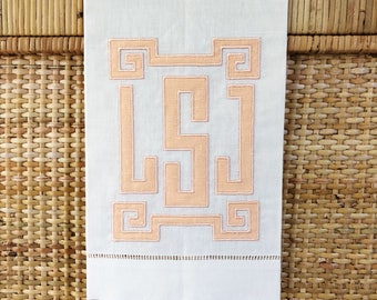 Greek Key Framed Linen Applique Monogram Guest Towel, Hand Towel. Blue Bamboo  Embroidery
