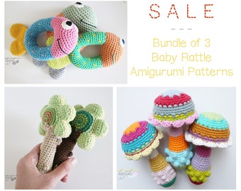 Pattern SALE, Crochet Bundle, Bundle of Three, Baby Rattle Pattern, Baby Toys Amigurumi Pattern Bundle, Amigurumi Pattern Bundle, Baby Gifts