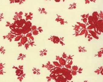 """End of Bolt 16"""" of Midwinter Reds Ivory with Red Roses by Minick & Simpson for Moda"""