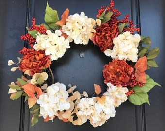 Pretty Front Door Wreath, Holiday Gift, Thanksgiving Gift, Best Floral Wreath
