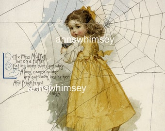 Baby's Nursery Art, Little Girl's Room Art, Nursery Rhyme  RESTORED #315  (Set Two)