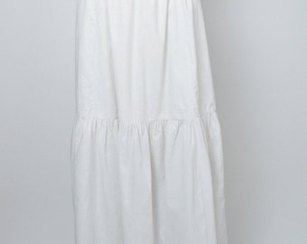 Vintage Victorian or Edwardian Skirt White Cotton Antique Clothing Underskirt Petticoat