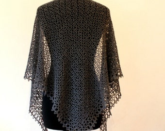 Crochet lace shawl in dark grey 100% cashmere