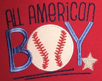 All American Boy Applique Shirt - Youth Size