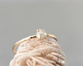 rose cut diamond ring, natural diamond claw setting, unique engagement ring, recycled gold stacking ring,  Rachel Wilder Handmade Jewelery