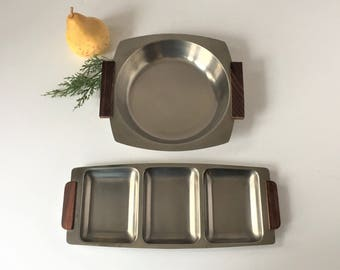 Danish Modern Trays, Vintage Bowl and Divided Tray, Stainless and Teakwood Appetizer Tray, Buffet Entertaining, 1960s Mid Century Serveware