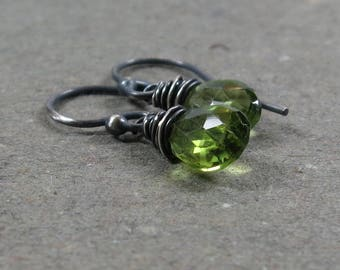Peridot Earrings August Birthstone Oxidized Sterling Silver Minimalist Petite Gift for Her