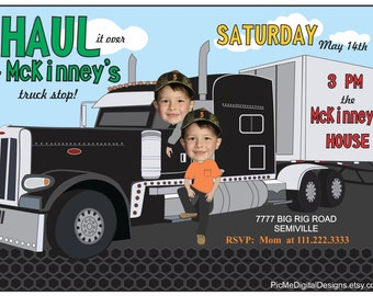 Twins Semi Truck Birthday Invitation, Custom Photo Big Rig Birthday Invitation, Truck Birthday Invitation, Big Truck Birthday Invitation
