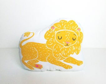 Plush Lion Shaped Pillow. Choose Any Color. Hand Woodblock Printed To Order. Takes 1 week to make.