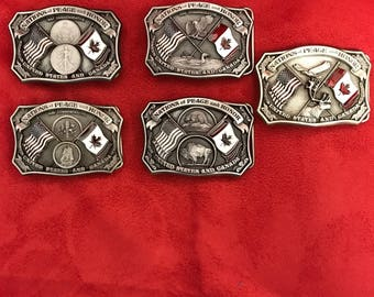 "US and Canada ""Nations of Peace and Honor"" Belt Buckle Set (5)"