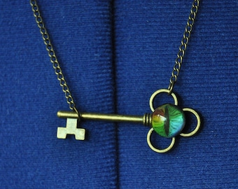 Bronze Metal Key Necklace with Rainbow Creature's Eye