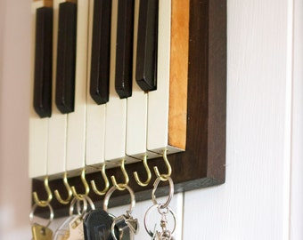 Upcycled Piano Key Hooks