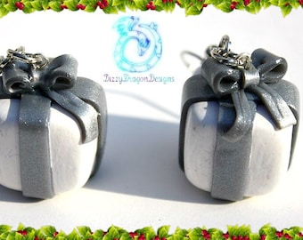Christmas present earrings, holiday jewelry, polymer clay,silver, handmade, gift idea