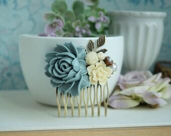 Dusk Grey Blue Brass Leaf Sprig, Dusty Grey Blue Flower Hair Comb Bridesmaid Gift, Something Blue, Rustic Dusty Blue Grey Wedding, Grey Comb