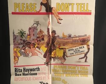 Original 1962 The Happy Thieves One Sheet Movie Poster Rita Hayworth, Rex Harrison