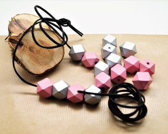 Kit necklace, suede cord black 1 m, 8 polygons pink, silver 20 mm