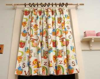Alphabet Barkcloth Curtain Panel ONE PANEL