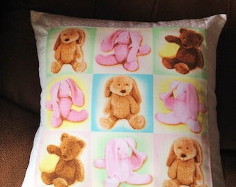 Cuddly toy fabric cushion, teddy cushion