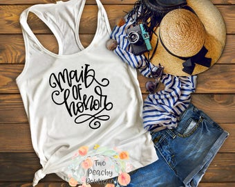 maid of honor/ maid of honor tank/ wedding party/ engagement/ engagement gift/ gift for bridal party/ bridal party/ tank/ bride/ bride tank