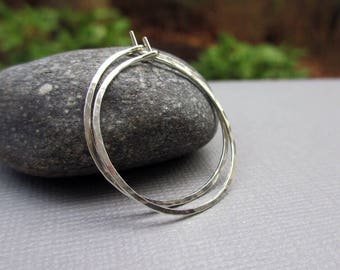 1 inch, Sterling Silver Hoop Earrings, Argentium Silver Hoop Earrings, Hammered Hoop, Small Medium Hoops, Classic Hoops, Endless Hoops