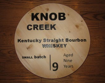 Knob Creek Bourbon Whiskey - Circular Wooden CNC Engraved Bar Sign