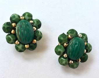 Vintage Green Clip On Earrings