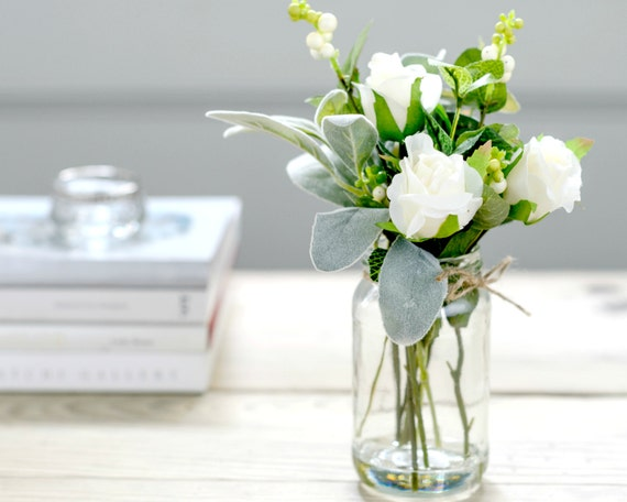 Artificial white flowers in vintage style vase silk roses mightylinksfo