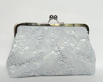 Bridal Purse, Silver Grey Bridal Lace Clutch, Silver Lace Clutch Purse, Bride's Clutch, Wedding Clutch, Silver Clutch, Silver and Navy Bag
