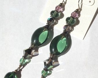 "Tourmaline Moss Green Earrings, Shoulder Duster Light Tourmaline, Peridot, Light Amethyst and Crystal Earrings with Bronze, ""Illusions 1"""