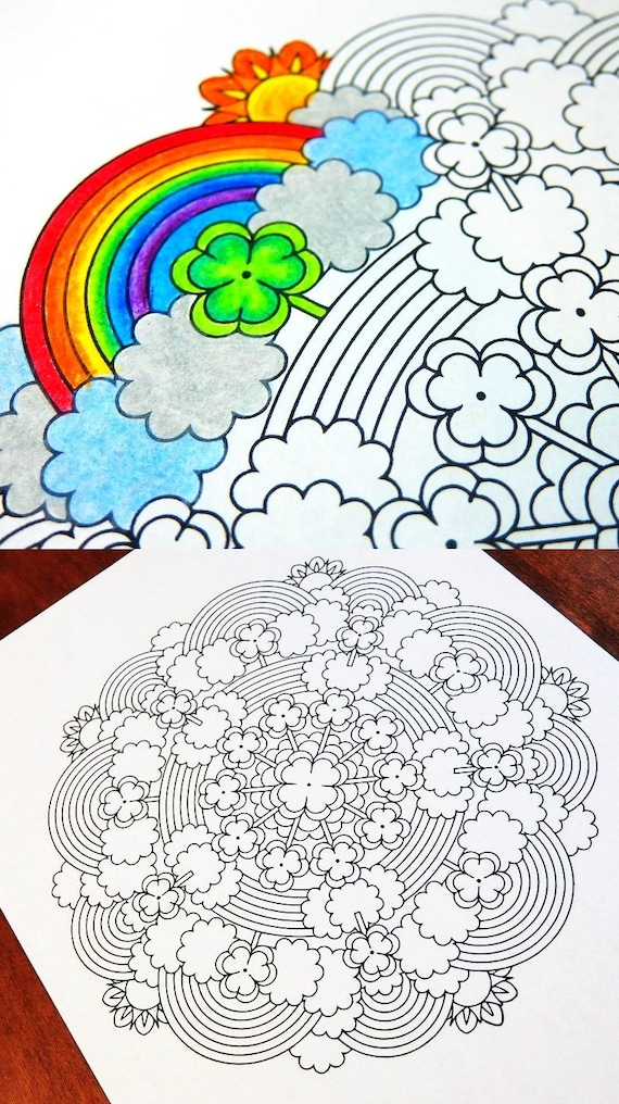 Mandala Coloring Page - St Patrick's Day - printable March coloring page -  adult coloring pages - clover rainbow leprechaun 17th lucky