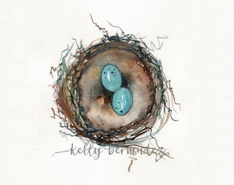 Nest Print, Bird Art, Robins Nest Print,  Robin eggs, blue, Watercolor Printable, Mother's Day Gift, Home Decor