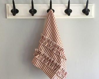 Red Ticking Stripe Hand Towel With Ruffles