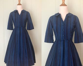 1950s Dark Blue Striped Shirtwaist Dress | 50s Button Down Collared Cotton Dress | Vintage Retro Pleated Full Skirt Day Dress | Extra Small