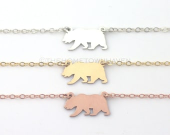 California Bear Necklace - Gold Cali bear, Rose gold california bear necklace