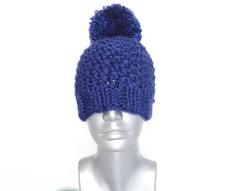 Blue Chunky Beanie with Pom, Royal Blue Knit Hat, Sapphire Winter Beanie with Puff, Dark Blue Knit Toque, Ski Cap