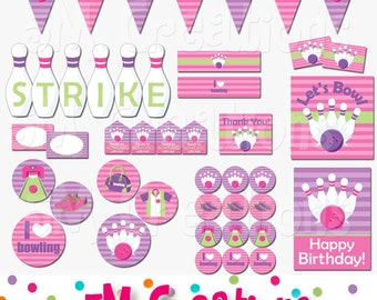 Bowling Birthday Party Decorations - Bowling Party Package - Girl Bowling Banner Cupcake Toppers -Pink Purple Instant Download Pdf