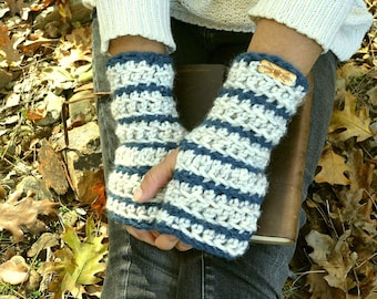 Fingerless Gloves - Striped Chunky Crochet Hand Warmers - More Color Options