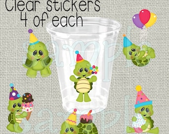 24 birthday turtles birthday party stickers Decoration Birthday Party stickers Party stickers Party cup stickers decals favors DIY or Precut