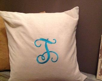Cream monogrammed pillow cover