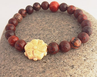 Poppy Jasper Wrist Mala Beads w Bone Flower - Yoga and Meditation Bracelet