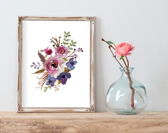 Shabby Chic Wall Art, Printable Art, Watercolor Flowers Digital, Botanical  Print, Wall Art Prints, Dorm Decor Wall Print, Boho Decor Girl
