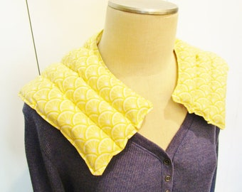 Rice hot or cold neck and shoulder wrap, pack. Lemon slice design. Relax muscles, reduce pain, stress and tension. Microwave or freeze.