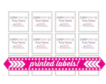 """100 Printed & Shipped Color Street Stylist Labels, Stylist Contact Information, Contact Stickers, 100 Labels, 2x2"""""""