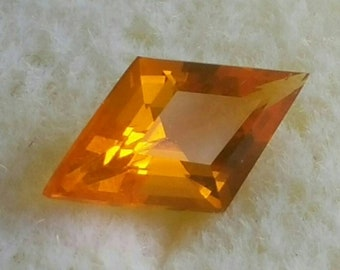 Mexican Fire Opal Mid Orange Flash Gemstone Faceted Rhombus AAA