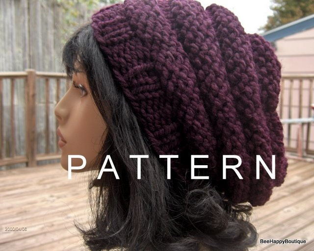 028f605381f Knit Hat PATTERN Slouchy Hat Beehive PATTERN Hat Knit Beehive Womens  Oversized Slouchy Women Slouchy Tam Hand Knit Beehive Slouchy Hat from  BeeHappyBoutique ...